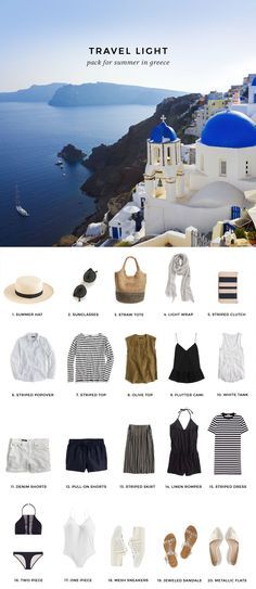 Travel Light / What to pack for summer in Greece – european travel outfit summer Greece Vacation, Greece Travel, Italy Travel, Greece Trip, Travel Europe, Honeymoon In Greece, Greece Cruise, New Travel, Travel Style