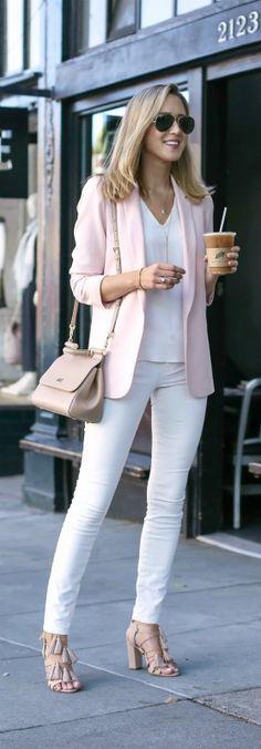 blush blazer, white skinny jeans, white vneck tank, nude lace up tassel heels, nude satchel handbag + sunglasses {oasis, loeffler randall, dolce&gabbana}