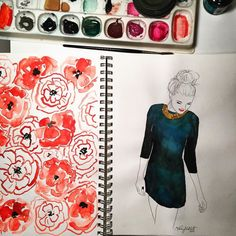 Sunday night sketchbook pages #kelseymdesigns #watercolor #sunday #sketch #sketchbook #painting #art #fashionillustration #illustration #doodle #flowers #poppy #etsy #etsyshop by kelseykmcnatt