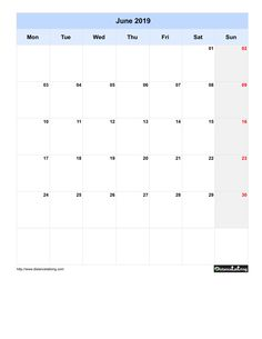 Free Monthly Printable Blank Calendar for June 2019 Monday to Sunday