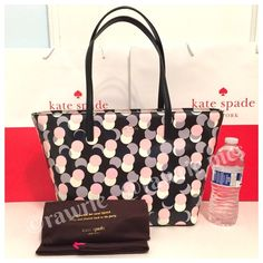 """SALE New Kate Spade Harmony tote multi dots 100% authentic Kate Spade gallery drive small Harmony tote. Printed glazed cross hatched fabric with matching black trim. 14-karat light gold plated hardware and protective metal feet. Zip top closure and fabric lining. Inside zip and slip pockets. Handles drop 9"""". Measures 17""""top/12""""bottom x 10"""" (H) x 6"""" (W). Brand new with tags. Comes from a pet and smoke free home. Kate Spade dustbag and shopping bag included. kate spade Bags Totes"""