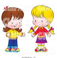 Clip Art of a Pair of Little Girls Standing Together and Talking ...