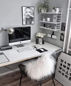 31 White Home Office Ideas To Make Your Life Easier; home office idea;Home Office Organization Tips; chic home office. Home Office Design, Home Office Decor, House Design, Home Decor, Office Designs, Office Furniture, Business Office Decor, Design Offices, Home Office Bedroom