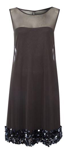 Women's fashion . Black . Sheer shoulders . Sequin hem