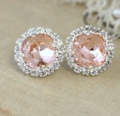 Silver Pink Blush stud earrings Pink Blush crystal by iloniti