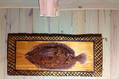 Flounder Fish Painting carved casting net Frame 3ft. decorative wall art home decor fishing centerpiece detailed original coastal home by oceanarts10 on Etsy