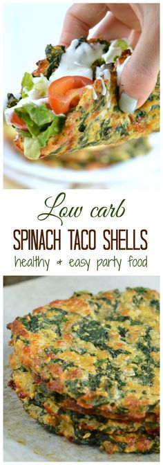 Low Carb Meals This is the Healthiest party food I ever made! Only 4 ingredients to make yummy spinach taco shells! It contains less than 2 g net carb, g fiber and 9 g protein per taco. Clean eating approved no refined flour. Low Carb Recipes, Diet Recipes, Cooking Recipes, Healthy Spinach Recipes, Spinach Protein, Budget Cooking, Grill Recipes, Vegan Recipes No Carbs, No Flour Recipes