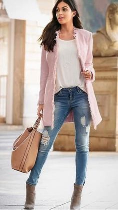 Casual Fall Outfits, Chic Outfits, Fashion Outfits, Casual Clothes, Venus Clothing, Pink Tweed Jacket, Latest Fashion For Women, Womens Fashion, Trendy Fashion