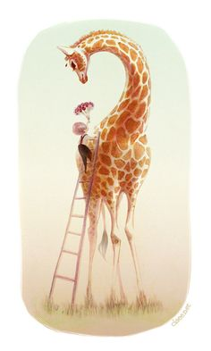 Love. Boy giving flowers to a Giraffe. Ladder. Ciaee | Illustrations