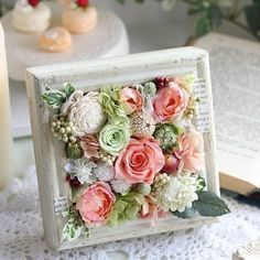 These little frame arrangements are great for a shelf or in a tiered tray Wood Flowers, Clay Flowers, Dried Flowers, Fabric Flowers, Paper Flowers, Flower Frame, Flower Boxes, Flower Art, Deco Floral