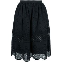 Marc By Marc Jacobs Broderie Anglaise Scalloped Skirt ($466) ❤ liked on Polyvore featuring skirts, black, marc by marc jacobs, scalloped skirt, black cotton skirt, black skirt and black knee length skirt