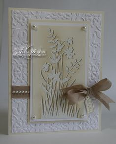"""SU Just Believe - Pinner Says, """"The image was first stamped in Crumb Cake, then using Stamp-a-ma-jig offset the image and stamped it again in VersaMark. Then it was embossed using Winter White EP. To make the white image stand out even more on the Very Vanilla cardstock, I lightly sponged it with more Crumb Cake ink using a Sponge Dauber."""""""