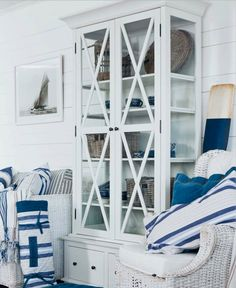 Blue and white and wicker
