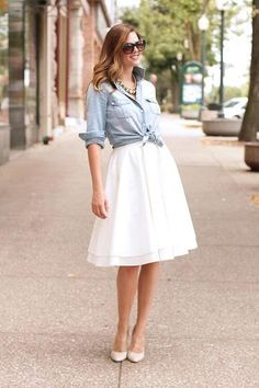 One of the many uses for a denim shirt - as a casual top for a full skirt and heels.