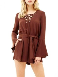 Cheap brown romper, Buy Quality fashion romper directly from China romper fashion Suppliers: MUSENDA Women Loose Bandage Flare Sleeve Elastic Waist Shorts Jumpsuit Playsuits Causal Fashion Sexy Brown Rompers with Sashes Salopette Short, Flare, Bandage, Light Dress, Short Jumpsuit, Hip Hop Fashion, Playsuits, Casual Looks, Elastic Waist