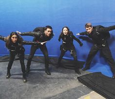 Chloe Bennet: Fake indoor sky diving while fake acting like fake people. Natalia Cordova-Buckley, Juan Pablo Raba, Chloe Benent, Luke Mitchell Agents of S. Agents Of Shield Seasons, Marvels Agents Of Shield, Shield Cast, Luke Mitchell, Ming Na Wen, Chloe Bennet, Agent Carter, Fake People, Marvel Series