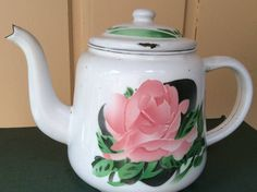 Vintage enamel ware teapot with pink rose pattern  Made in China # Reservoir.  Shabby chic, rustic collectible kitchen decor . by LADYG99 on Etsy