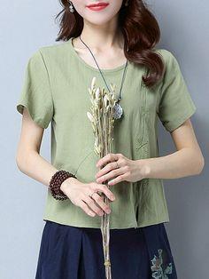 75a63bd4dd1b2 Casual Women Pure Color Short Sleeve O-Neck Pocket T-shirt