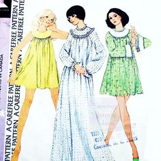 Babydoll Shorty Nightgown 1970s Pattern. Full Cut. Round Yoke. by sewinghappyplace on Etsy
