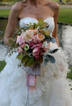 Ariella Chezar... this bouquet is so scrumptious and wild...ummmmm! Love it. flower list : dahlia, garden roses, lambsear, maybe dusty rose luzianthus, white and pink ranunculus, not sure what foliages.maybe a eucharist lily on the right