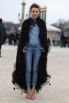 Uliana Sergeenko, Denim + Feathers | Street Fashion | Street Peeper | Global Street Fashion and Street Style