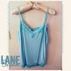 Aqua Lace Camisole Absolutely LOVE these Camisoles!  Very Comfy, and don't add Bulk under your Clothes. Perfect for Sheer tops, or if you have a low cut Top...just perfect w/ Lace Popping out. Material is 94% Rayon & 6% Spandex. Lane Bryant Tops Camisoles