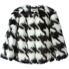 Michael Michael Kors Houndstooth Printed Faux-Fur Jacket ($224) ❤ liked on Polyvore featuring outerwear, jackets, fur, coats, tops, black, black faux fur jacket, michael michael kors, hounds tooth jacket and faux fur jacket