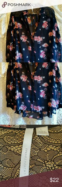 Lauren conrad top Beautiful pink floral top sheer needs camisole underneath higher in front buttons to close crochet on back top and shoulders euc Lauren conrad Tops Button Down Shirts