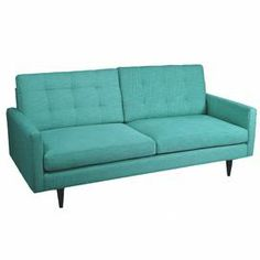 """Linen-upholstered teal sofa with button tufting and a midcentury-inspired design.     Product: Sofa    Construction Material: Linen    Color: Teal      Features: Retro design        Dimensions: 36"""" H x 79"""" W x 37"""" D         Cleaning and Care: Professional clean only"""