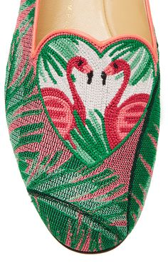 M'O Exclusive: Flamingo Embroidered Canvas Slippers by   Moda Operandi
