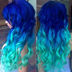 Mermaid blue ombre hair color to green~ Amazing Ocean blue ombre mermaid hair by our girl Moorea Wolf ~