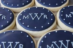 Monogrammed cookies for wedding shower