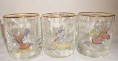 Vintage Ned Smith Bar Glasses Birds Fowl Optic Orvis Whiskey Old Fashioned Rocks #NedSmith