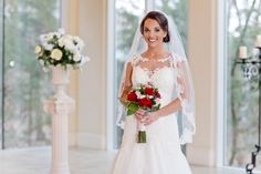 Dallas wedding photographer, Mary Fields Photography, indoor bridal portraits, red and blush rose bridal bouquet, lace trim wedding dress with sweetheart neckline