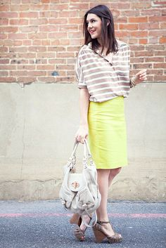 awesome neon pencil skirt -- cute outfit!