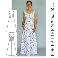 Maxi Dress Sewing PDF Pattern - Womens Maxi Dress Pattern - Maxi Dress patterns for Women Such a perfect staple dress sewing pattern for your wardrobe. This long maxi woven dress can be sewn with solids, florals or prints! This is a very flattering fitted dress sewing pattern. It's great year-round since it's long! commission link