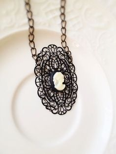 Victorian Cameo Necklace with Black Lace Filigree