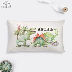 Personalised Baby Dinosaur cushion, T-Rex, stegosaurus, brontosaurus, nursery cushion, kids room decor, baby gift, Keepsake. Personalised Cushions, Personalised Baby, Baby Shower Gifts, Baby Gifts, Baby Dinosaurs, Dinosaur Design, Velvet Cushions, Off White Color, T Rex