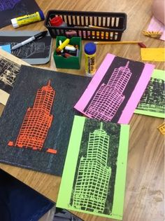 Boy oh boy, did I love this project! I have always had a fondness for cityscapes, and printmaking is one of my favorite mediums, so. Classe D'art, 6th Grade Art, Ecole Art, School Art Projects, Collaborative Art, Middle School Art, Art Lessons Elementary, Elements Of Art, Art Lesson Plans
