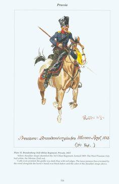 Prussia: Plate 35. Brandeiiburg (3rd) Uhlan Regiment, Private, 1813