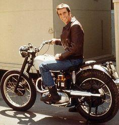 Henry Winkler aka The Fonz, star of the show 'Happy Days' on his 500cc Triumph motorbike.