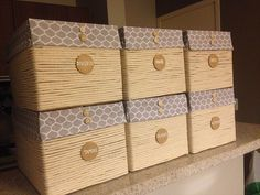 Discover thousands of images about Storage Boxes=Shoe Boxes covered with Fabric and a Button Diy Storage Boxes, Craft Storage, Diy Arts And Crafts, Diy Crafts, Diy Rangement, Small Space Interior Design, Laundry Room Storage, Diy Cardboard, Diy Box