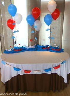 DECORACIÓN MARINERA PARA UNA COMUNIÓN – Anaquiños de Papel Baptism Decorations, Diy Party Decorations, Thomas Birthday Parties, Boy Birthday, Titanic Cake, Fireworks Cake, Baby Shawer, Nautical Party, Childrens Party