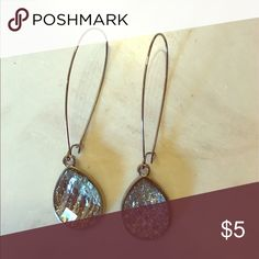 Gorgeous tear drop stone dangle earrings EUC Gorgeous earrings great for dressing up a simple outfit Accessories