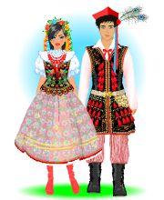 stroje regionalne polskie (wycinanki, pdf, gry) Folk Costume, Costumes, Polish Folk Art, Ethnic Outfits, My Heritage, Vintage Postcards, Captain Hat, Gowns, Black And White