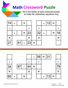 Addition math puzzles educational puzzles pinterest worksheets if your kid is crazy for crosswords then this collection of worksheets is for you ccuart Gallery