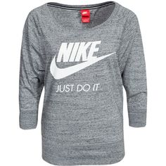Nike Gym Vintage Crew ($63) ❤ liked on Polyvore featuring tops, carbon, jumpers & cardigans, womens-fashion, nike, 3/4 sleeve tops, print top, vintage tops and three quarter sleeve tops