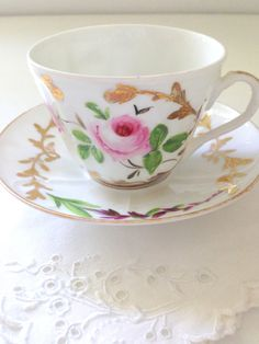 Vintage Bone China Handpainted Teacup and Saucer Cottage Garden Tea Party