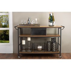 Stark rustic styling plus generous surface space combine in our Lancashire Wood and Metal Kitchen Cart. This triple-decker table's vintage industrial design is achieved via antique bronze metal finishing and distressed ash veneer.