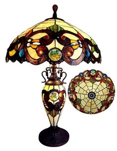 Chloe Lighting 62 in. Tiffany-style Victorian Double Lit Floor Lamp with at The Home Depot Stained Glass Table Lamps, Stained Glass Light, Hanging Lamp Shade, Table Lamp Shades, Ceiling Hanging, Victorian Table Lamps, Antique Lamps, Tiffany Style Table Lamps, Tiffany Lamps